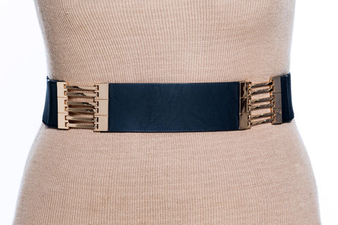 Final Sale Plus Size Elastic Band Belt Black and Gold Sections