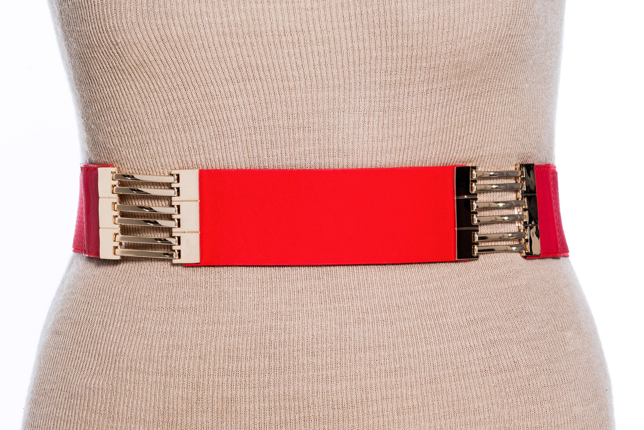 Final Sale Plus Size Elastic Band/Belt Red and Gold Sections