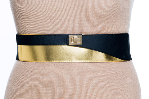 Final Sale Plus Size Elastic Band Belt in Black and Gold