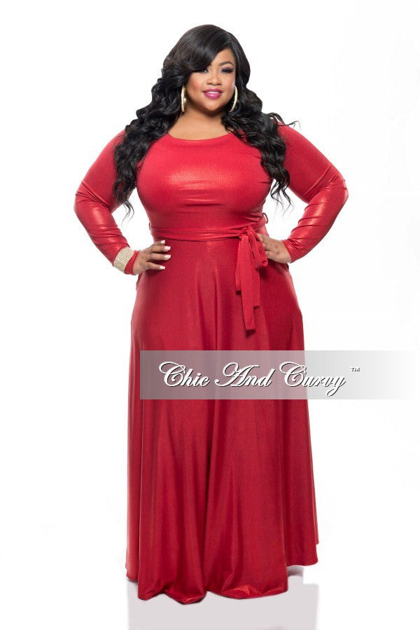 New Plus Size Long Sleeve Dress w/ Tie in Shiny Red
