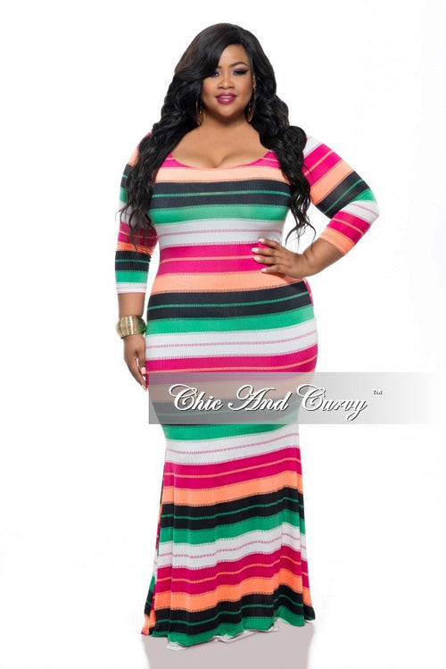 New Plus Size BodyCon Dress w/ 3/4 Sleeves and Mermaid Bottom in Green, Black, Magenta, Peach Stripe Print