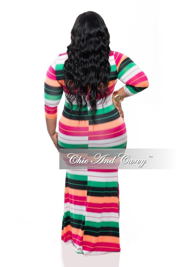 Final Sale Plus Size BodyCon Dress w/ 3/4 Sleeves and Mermaid Bottom in Green, Black, Magenta, Peach Stripe Print