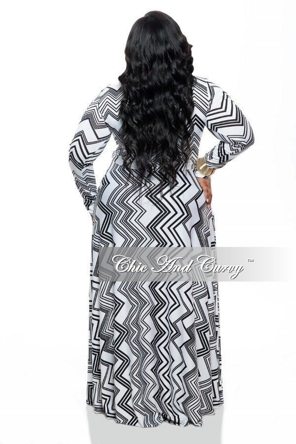 New Plus Size Long Sleeve Dress with Tie and Side Pockets in White and Black Zig Zag Print