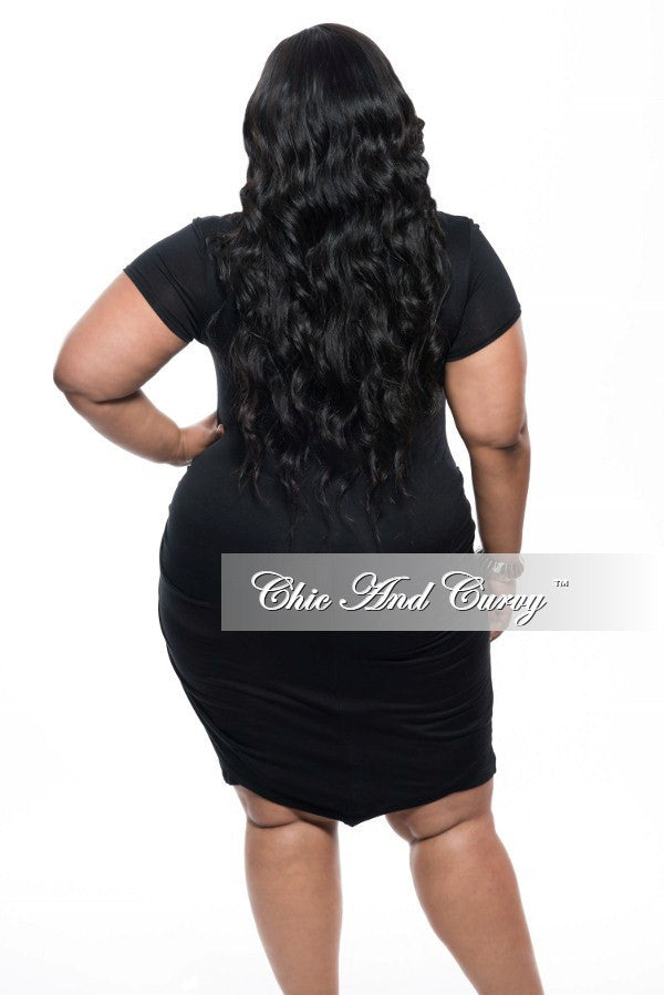 Final Sale Plus Size BodyCon Dress with Knot Front and Short Sleeves in Black