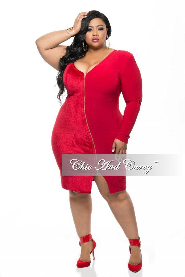 New Plus Size BodyCon with One Sleeve and Slanted Gold Zipper in Red