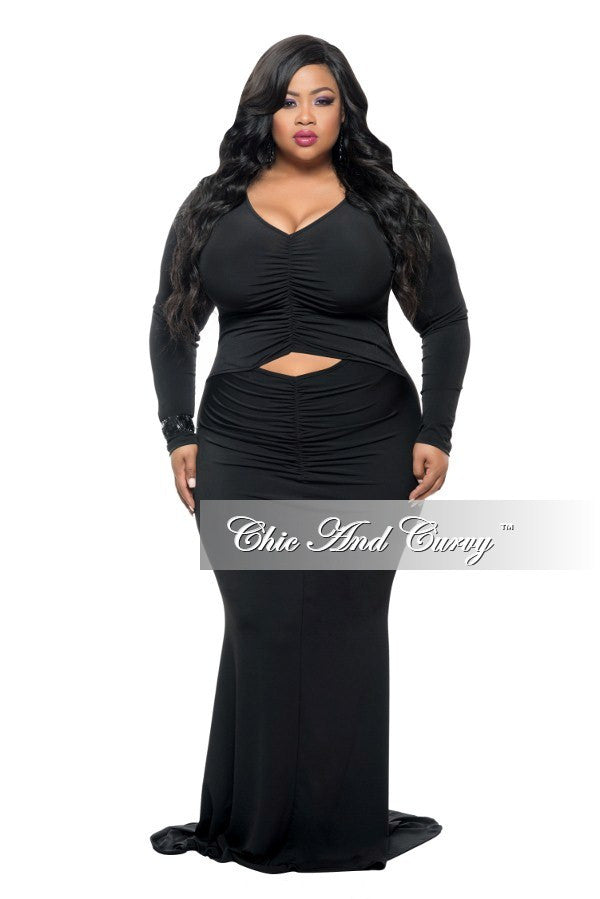 Final Sale Plus Size Long Sleeve Bodycon Dress W Mermaid Bottom