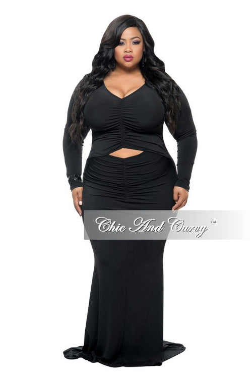 Final Sale Plus Size Long Sleeve BodyCon Dress w/ Mermaid Bottom, Front Ruching and Diamond Cutout Middle in Black