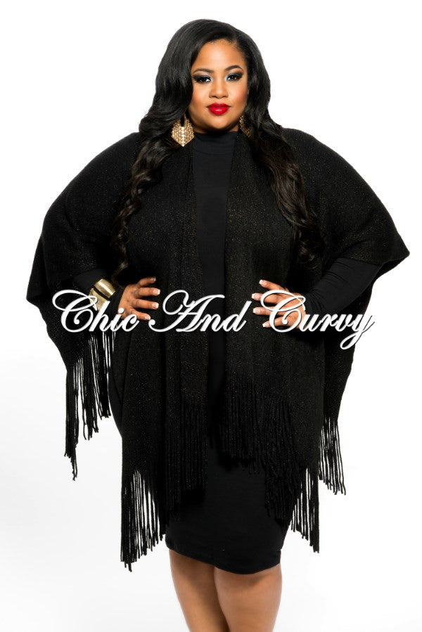 New Plus Size Shawl with Fringe Trim in Black with Sparkle One Size