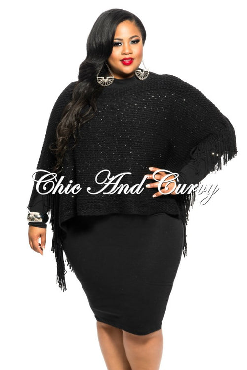 Final Sale  Plus Size Poncho in Black with Sparkle One Size