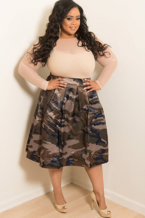 New Plus Size Skirt in Camo Print