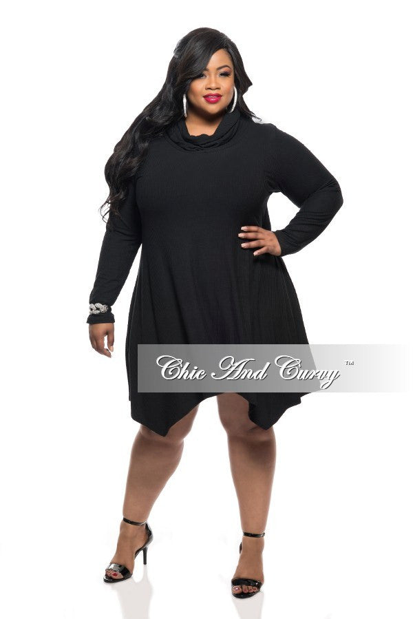 New Plus Size Dress With Cowl Neck And Long Sleeves In Black Chic