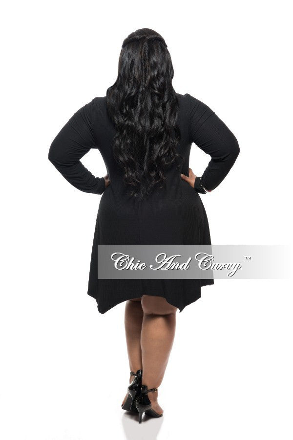 New Plus Size Dress with Cowl Neck and Long Sleeves in Black