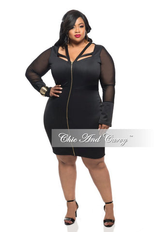 New Plus Size BodyCon Dress with Zip Front and Strap Neckline in Black