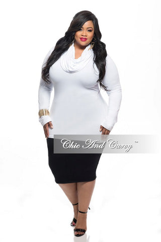 Final Sale Plus Size Top with Long Sleeves and Cowl Neck in White