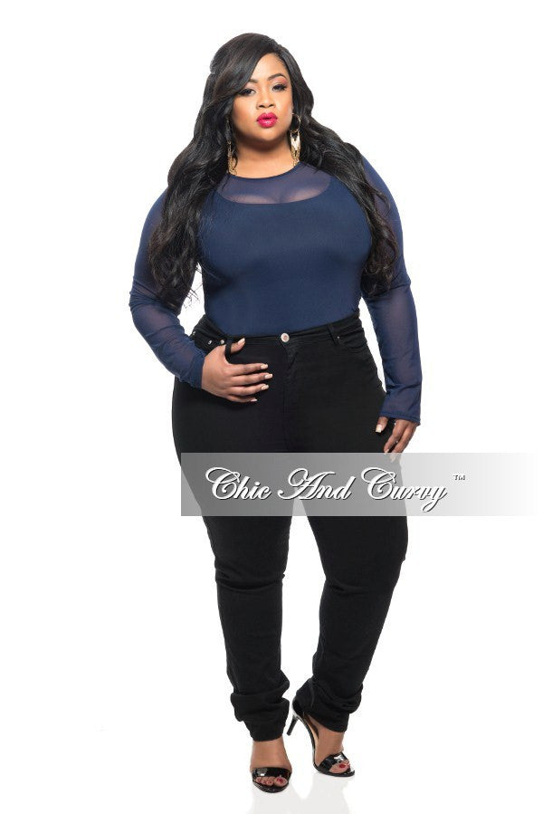 New Plus Size Sheer Top with Long Sleeves in Blue