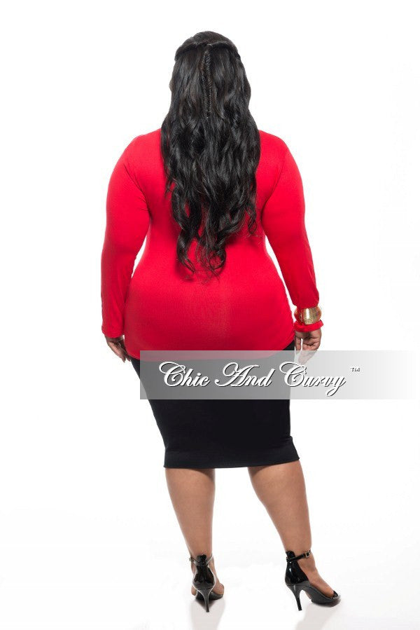 New Plus Size Top with Cowl Neck and Long Sleeves in Red