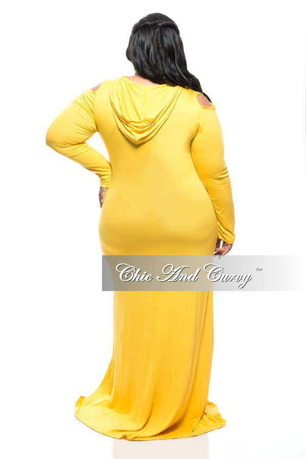 New Plus Size BodyCon Long Dress with Cold Shoulder and Hood in Mustard Yellow