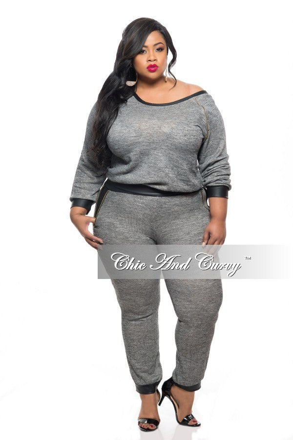 Final Sale Plus Size 2-Piece Top and Pant Set in Dark Grey and Black