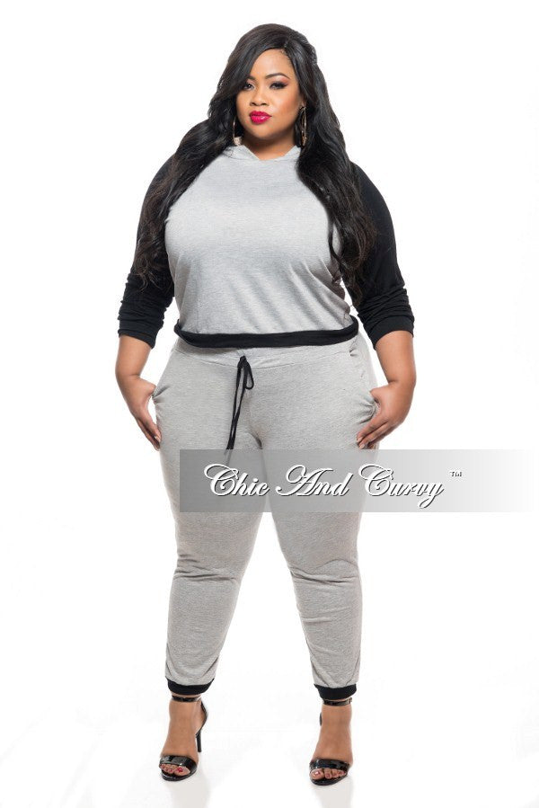 Final Sale Plus Size 2-Piece Top and Pant Set with Hood in Grey with Black Sleeves