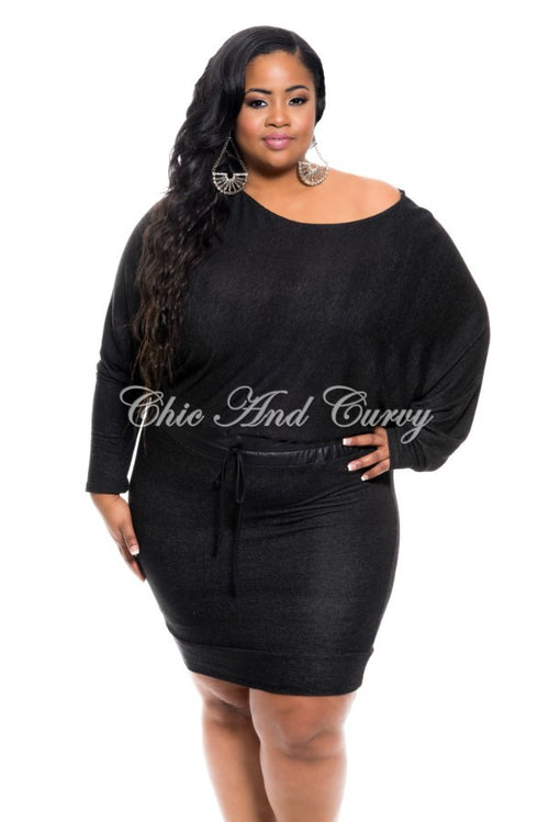 Final Sale Plus Size Short Off the Shoulder Dress with Tie in Black