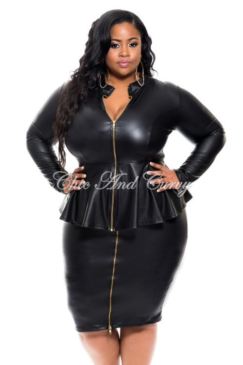 Final Sales Plus Size 2-Piece Liquid Skirt and Peplum Jacket Set with Gold Zipper in Black