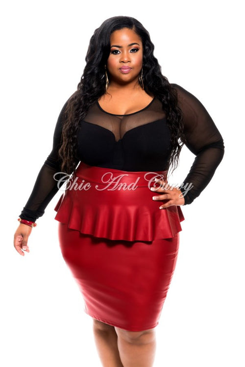 Final Sale Plus Size Faux Leather Peplum Skirt in Red