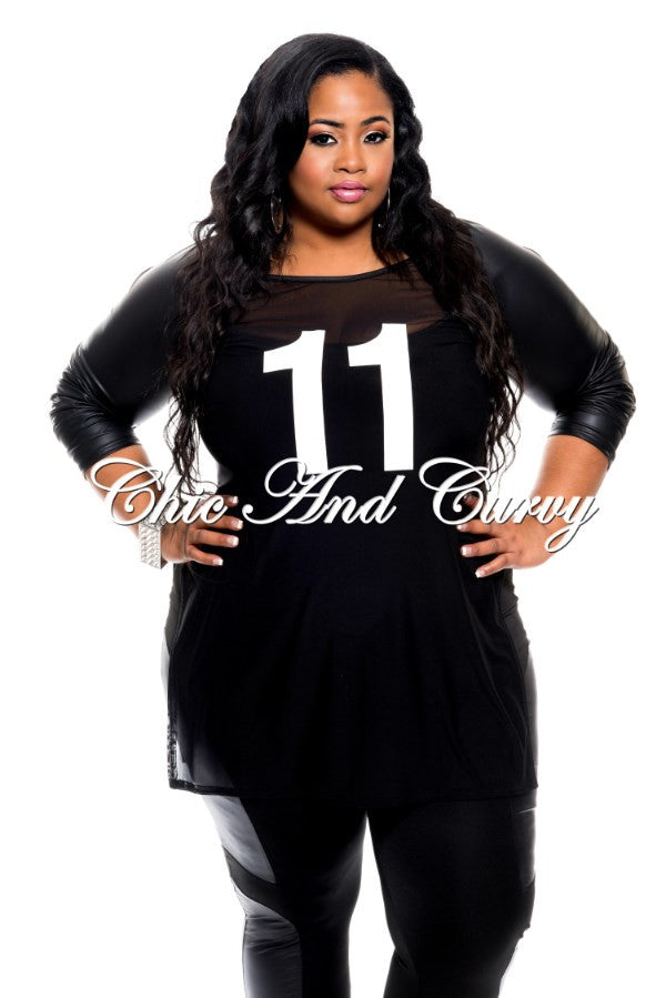 Final Sale Plus Size Sexy Mesh Football Jersey Top in Black & White with Liquid Sleeves