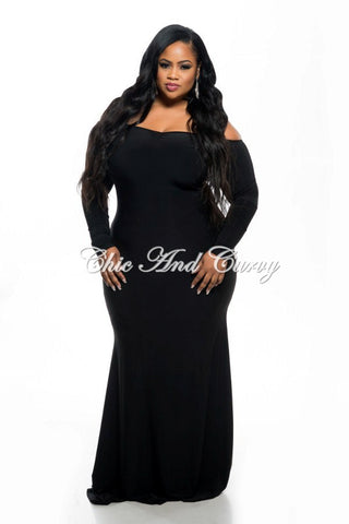 Final Sale Plus Size Long Sleeve Bodycon with Open Shoulder V- Neck Top Maxi Dress in Black