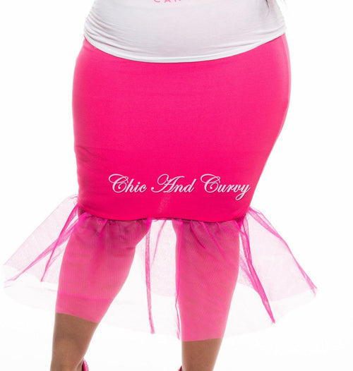 New Plus Size Skirt with Tulle Bottom in Pink
