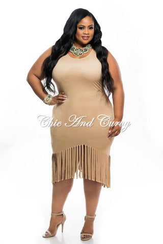 Final Sale Plus Size BodyCon with Lace Up Front and Zipper Back in Khaki