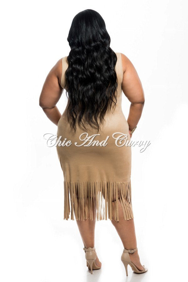 Final Sale Plus Size Faux Suede BodyCon with Bottom Fringe in Camel