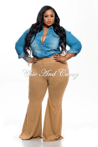 New Plus Size Bell Bottom Pants in Faux Suede in Camel