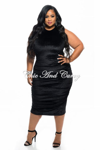 New Plus Size Faux Velvet BodyCon with Ruched Sides in Black