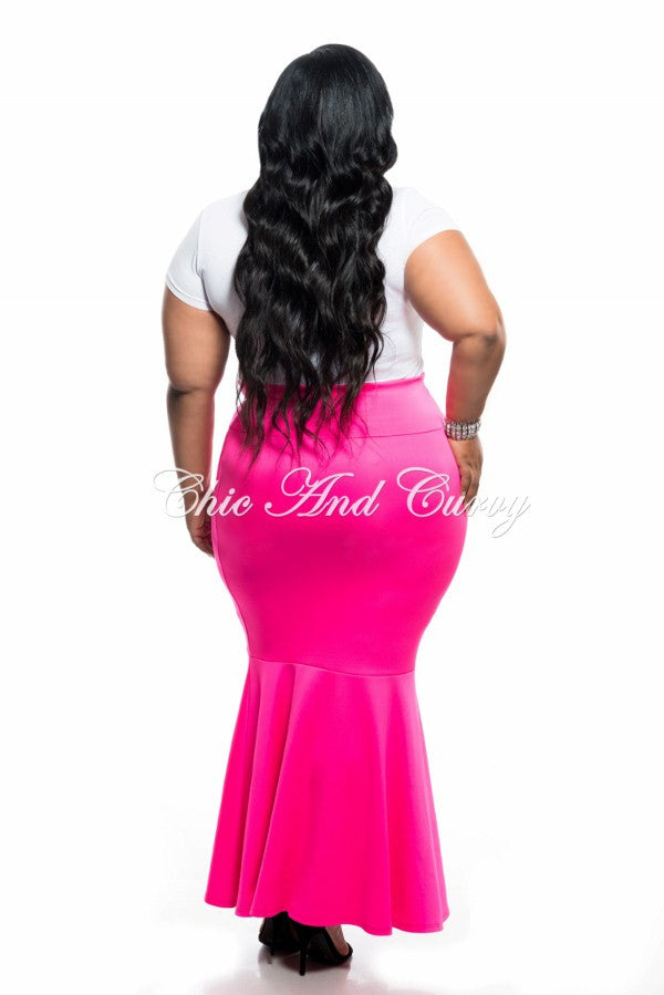 Final Sale Plus Size Mermaid Scuba Skirt in Pink