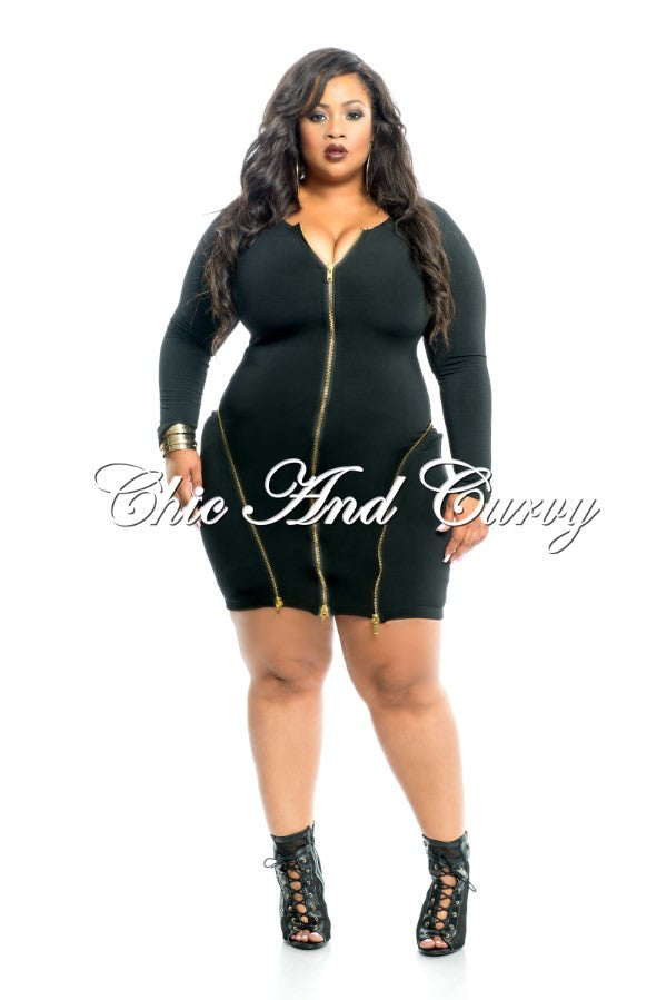 New Plus Size BodyCon with Three Gold Zippers in Black