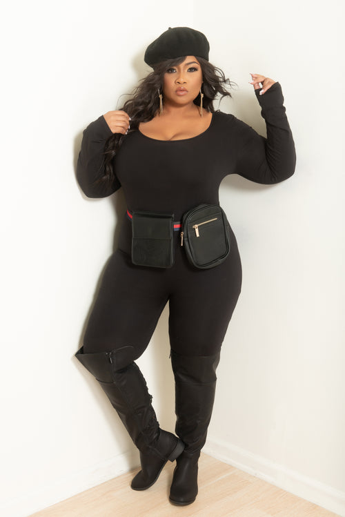 Final Sale Plus Size Double Belted Fanny Pack in Black with Red and Navy Trim Belt