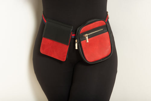 Final Sale Plus Size Double Belted Fanny Pack in Red and Black with Red and Navy Trim Belt