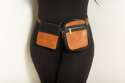 Final Sale Plus Size Double Belted Fanny Pack in Brown and Black with Red Black and Green Trim Belt