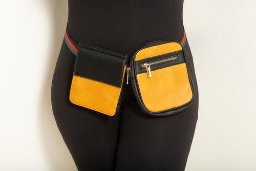 Final Sale Plus Size Double Belted Fanny Pack in Mustard and Black with Red Black and Green Trim Belt
