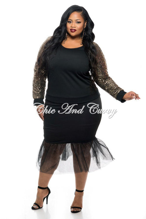 New Plus Size Skirt with Tulle Bottom in Black