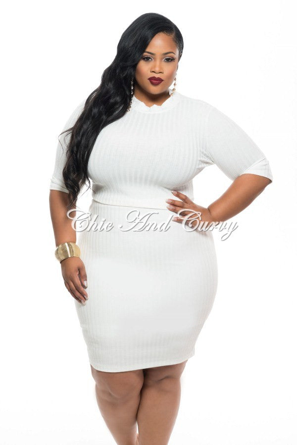 Final Sale Plus Size 2 Piece Crop Top with Back Cutout and Skirt ...
