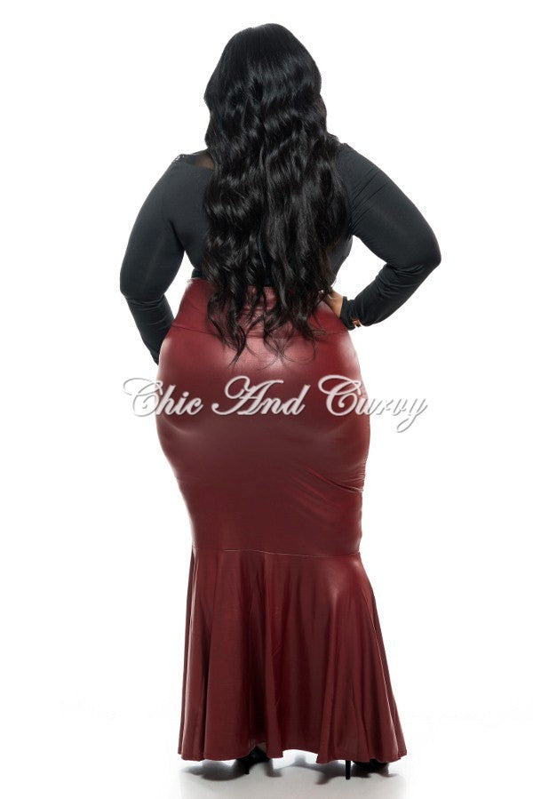 New Plus Size Liquid Mermaid Skirt in Burgundy