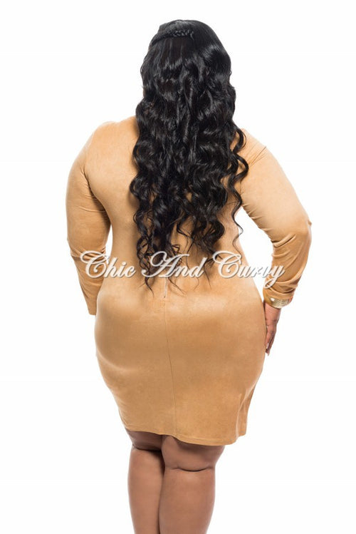 New Plus Size BodyCon with Lace Up Front and Zipper Back in Khaki