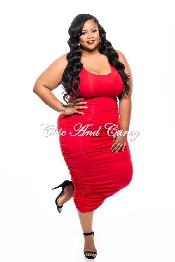 f3709d06fac 50% Off Sale - Final Sale Plus Size BodyCon Tank Dress with Ruched Sides in  Red