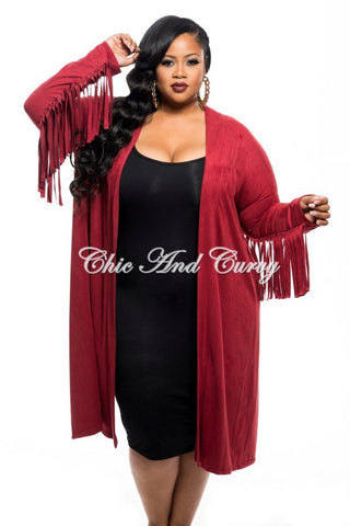 New Plus Size Jacket in Faux Suede with Fringe Sleeves and Slit Back in Burgundy