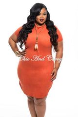 Final Sale Plus Size BodyCon with Short Sleeves and Side Split in Dark Orange 1x 2x 3x