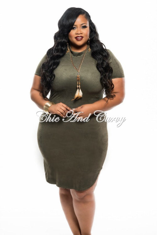 Final Sale Plus Size BodyCon with Short Sleeves and Side Split in Olive 1x 2x 3x