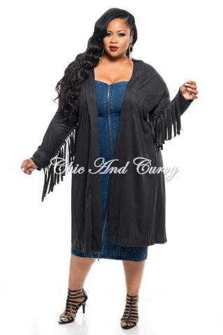 Final Sale Plus Size Distressed Jacket with Button Front in   Light Denim