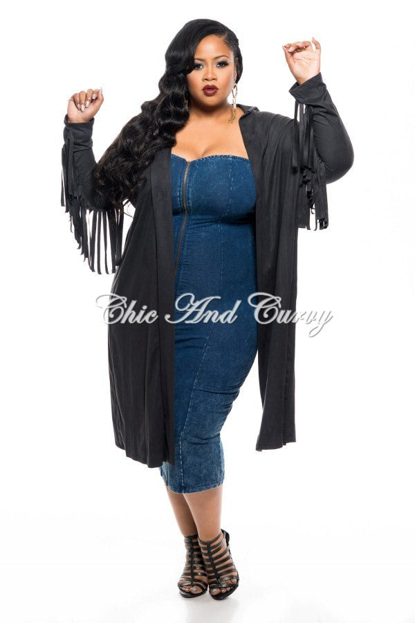 New Plus Size Jacket in Faux Suede with Fringed Sleeves and Slit Back in Black
