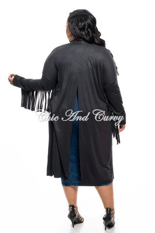 New Plus Size Jacket in Faux Suede with Fringe Sleeves and Slit Back in Black